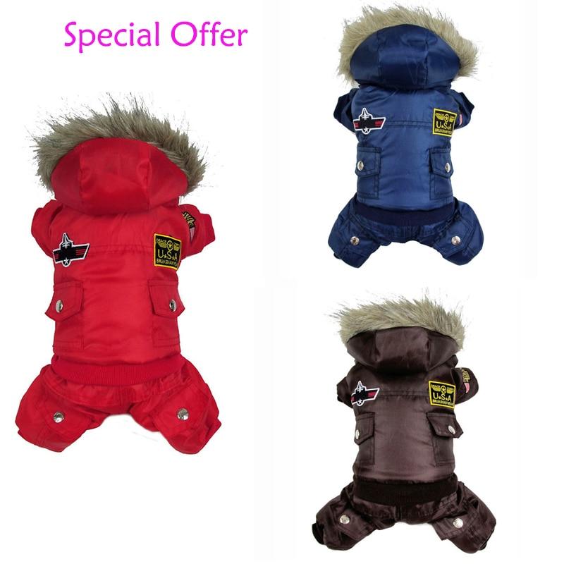 Oferta especial pequeno médio grande cão casaco de inverno estilo da força aérea algodão animal estimação quente macacão roupas para cães