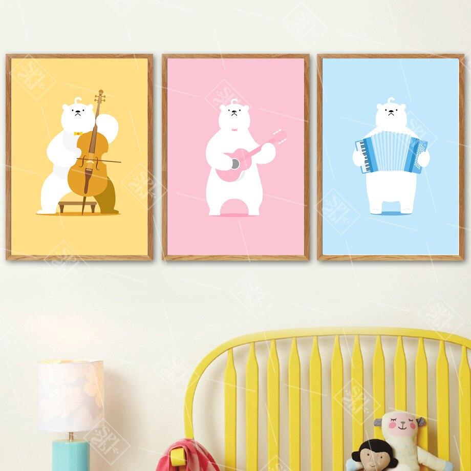 Kawaii gitara wiolonczela akordeon niedźwiedź Nordic plakaty i reprodukcje obraz ścienny na płótnie dla dzieci sypialnia dekoracji nie oprawione