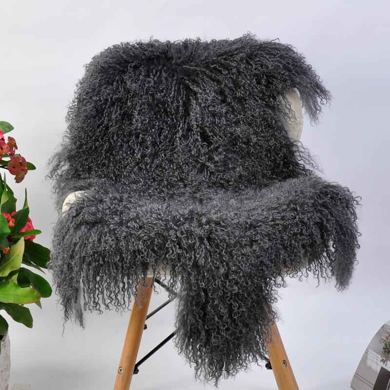 Cojín de silla de lana pura, manta decorativa de invierno de piel de cordero de Tíbet, lana de oveja de pelo rizado natural