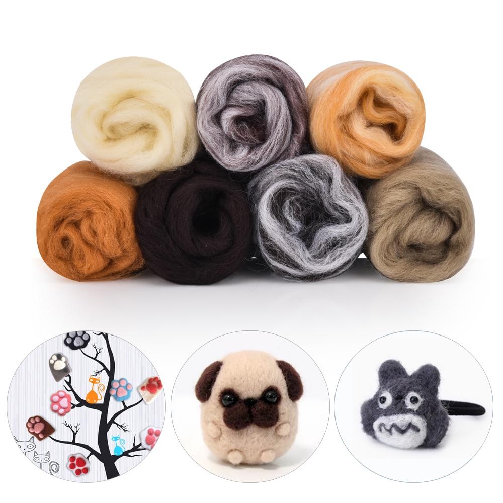 Fibra de lana Roving de 7 colores para aguja para manualidades, fieltro hecho a mano, suave lana suave, costura, manualidades de costura, fieltro, muñeca, herramientas de lana