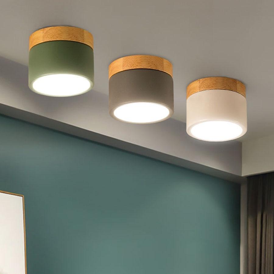 Mini lâmpada do teto de madeira para corredor cozinha sala jantar spotlight superfície montado interior cabeceira quarto conduziu a lâmpada do painel plano