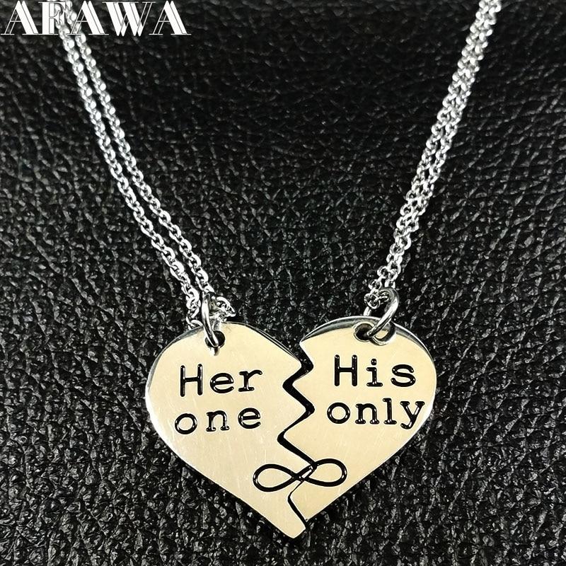 2020 moda emparejar su único collar de acero inoxidable Plata pequeña Color pareja cadenas collar joyería joyas N18090