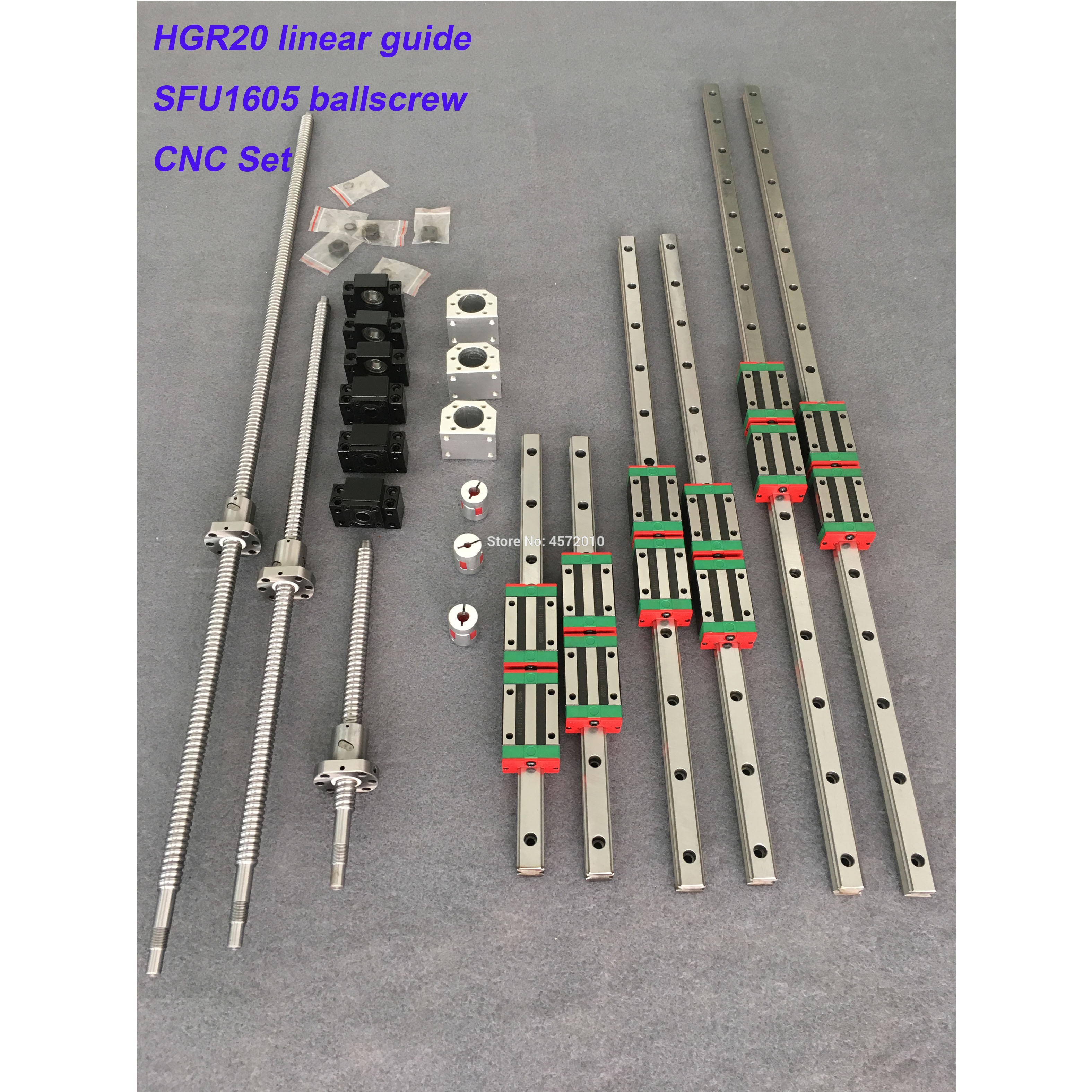 HGR20 الخطي دليل السكك الحديدية مجموعة HGR20 - 400/860/1240 مللي متر + SFU1605 - 350/800/1120/1120 مللي متر ballscrew + BK12 BF12 CNC أجزاء