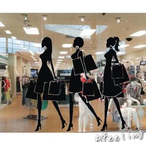 fashion shopping girl Showcase sticker Wedding dress store  supermarket wall window stickers