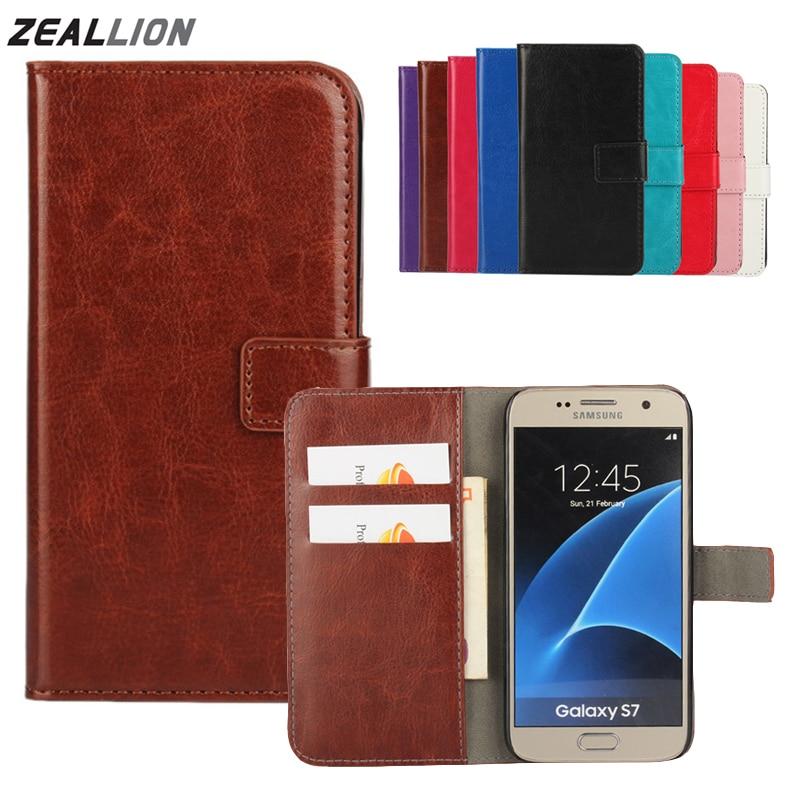 For Samsung Galaxy S3 S4 S5 S6 S7 S8 S9 Edge Plus J1 J3 J5 J7 A3 A5 2017 EU Note8 Case Holster Flip Crazy-Horse PU Leather Cover