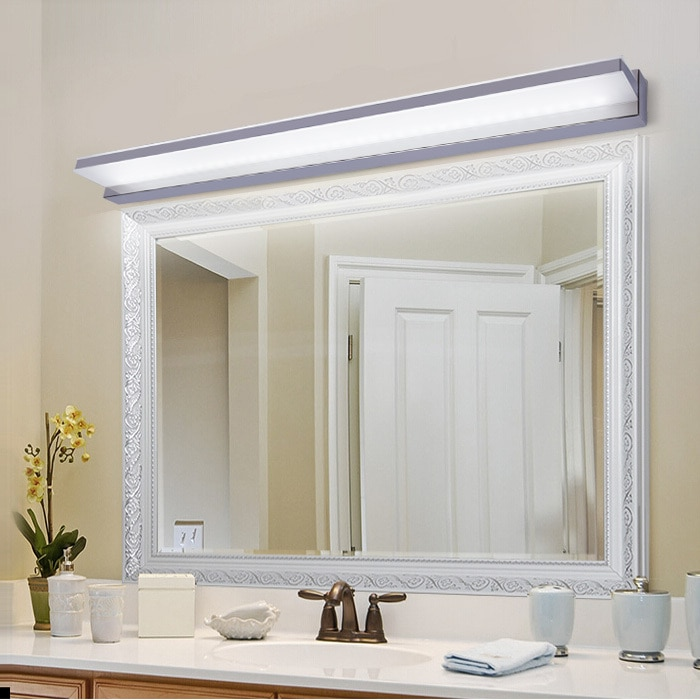 Moderna lámpara de pared de acero inoxidable, moderna, resistente al agua, luz LED para espejo, con espejo, para Baño