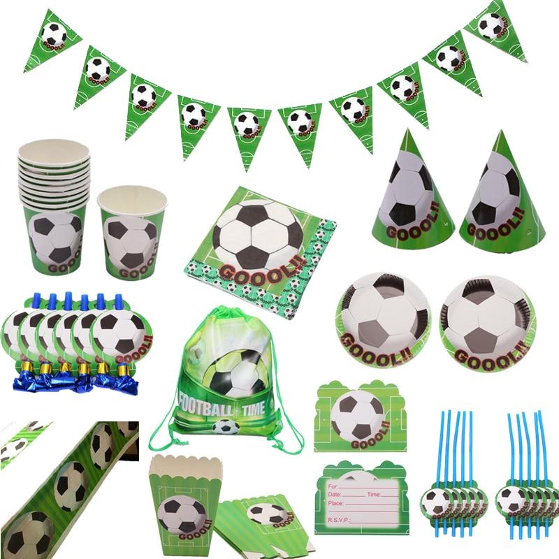 Fiesta temática de fútbol plato de papel para mesa taza servilleta bandera sombrero niños bolsa para regalos de favor mantel paja decoración fiesta de cumpleaños