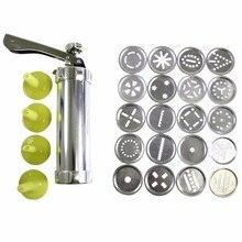 Ne jeu de presses à Biscuits en acier inoxydable   Kit de machines à Biscuits en acier inoxydable, 20 disques, 4 pointes de glaçage, pâte Spritz, outils pour faire des Biscuits 8