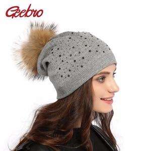 Geebro Women's Pompons Hats Winter Warm Knitting Raccoon Fur Pom Pom Beanie Hat for Women Real Fur Pompom Skullies Beanies DQ039