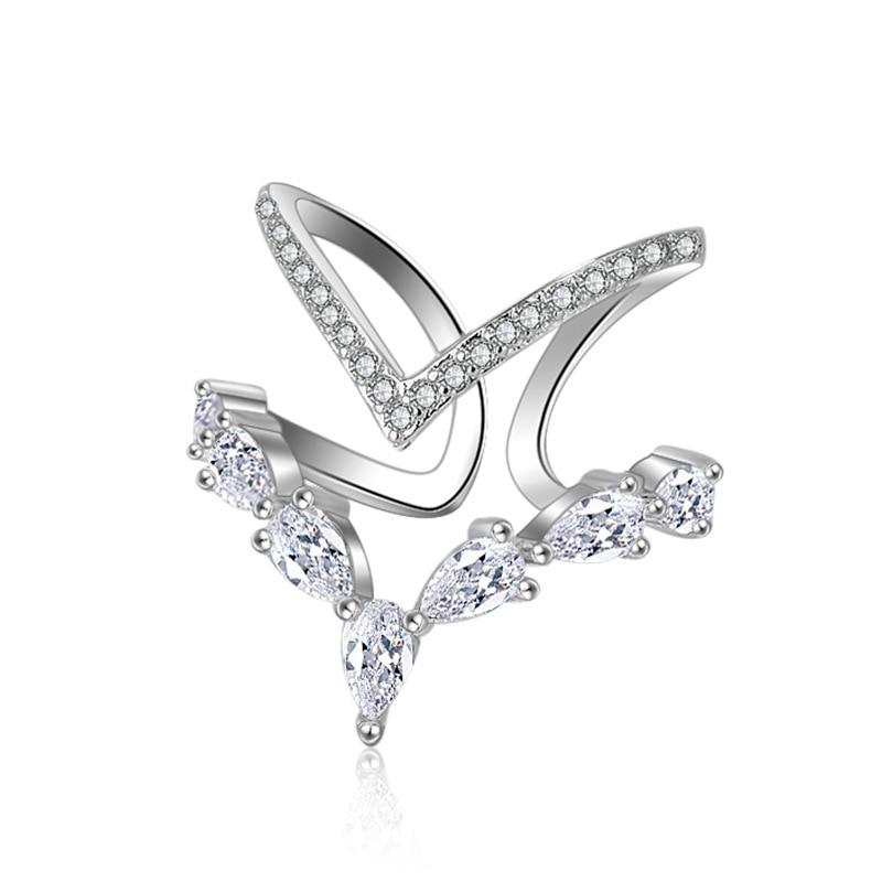 Conception audacieuse Chic mode Double flèche bagues en argent Sterling/or Rose couleur bijoux avec pierre de Zircon cubique