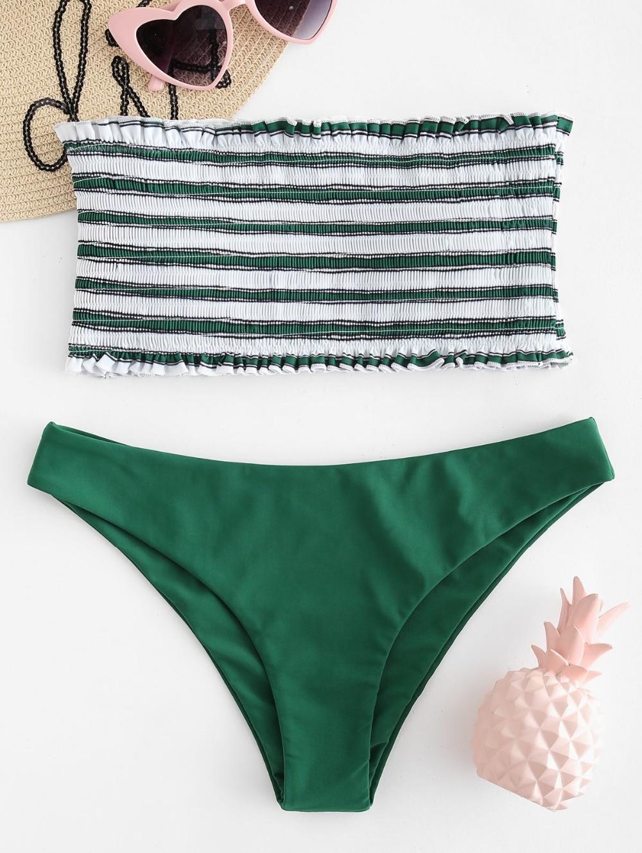 Sexy Swimwear Women Smocked Bikini Top Low Waisted Bather Push-Up Indoor Swimsuit Bandeau Bathing Suit For Female 2019 Monokini