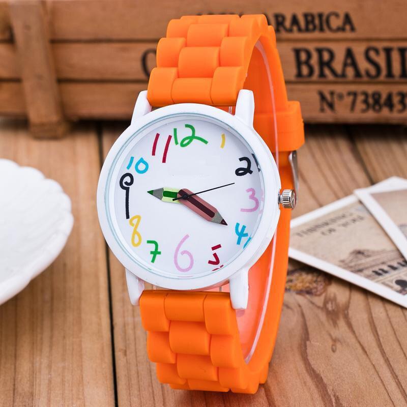 Hot Silicone Watches Children Pencil Pointer Student Watch Quartz Wristwatches Gift Watches MSK66