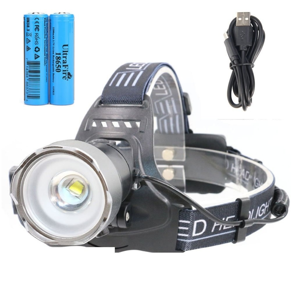 مصباح أمامي LED فائق الدقة ، قابل لإعادة الشحن ، مع بطارية ليثيوم أيون 18650 ، مصباح يدوي USB حساس للضوء ، 500 لومن ، CREE 2 الوضع