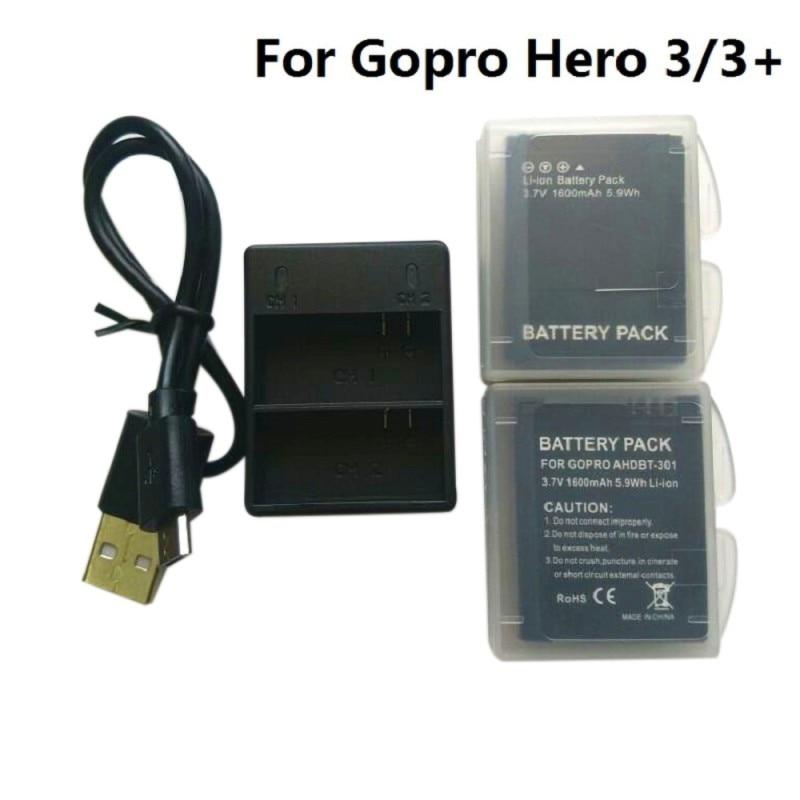 3,7 V para Gopro Hero 3 AHDBT-301 de batería Hero3 cargador Dual USB funda de batería para GOPRO 3 + 302 accesorios de Cámara de Acción