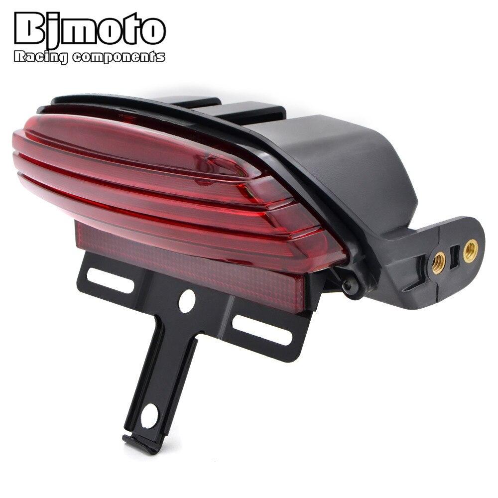 BJMOTO красный трехполосный светодиодный стоп-светильник заднего крыла стоп-Стоп задний светильник номерного знака для Harley FXST, FXSTB, FXSTC, FXSTS и ...