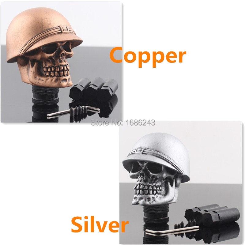 Casco cabeza de calavera coche camión perilla de caja de cambios Kits de cambio para cobre plata Universal nuevo