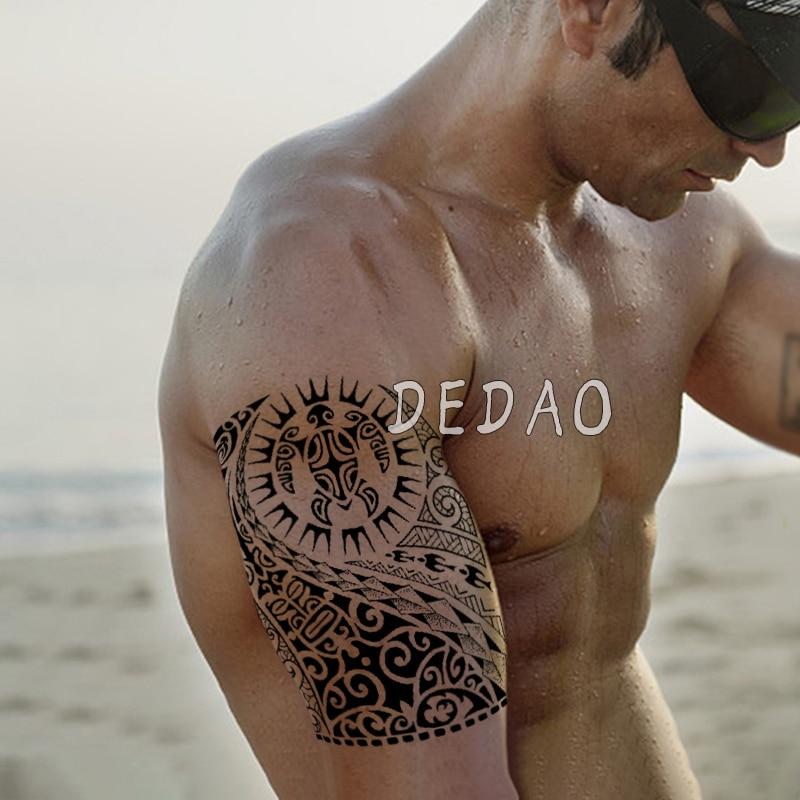 Tatuaje temporal a prueba de agua, tatuaje falso, pegatina Tribal, tótem, tatuaje Flash, tatuaje, brazo, piernas, tatuajes adhesivos para hombres, mujeres y niñas