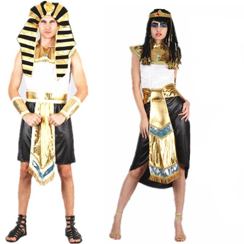 Los hombres y las mujeres del faraón egipcio disfraz de Cleopatra trajes etapa de Halloween Navidad Año Nuevo Fiesta disfraces de pareja