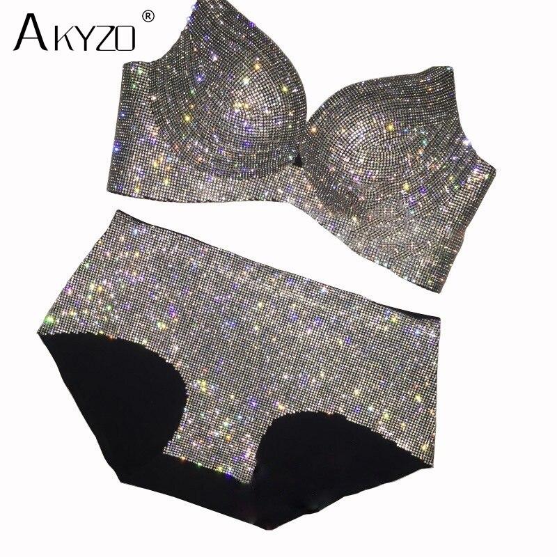 AKYZO, conjunto de sujetador de lujo con diamantes de imitación, sexy, brillante, de alta calidad, con diamantes, elástico, acolchado, sujetador para mujer