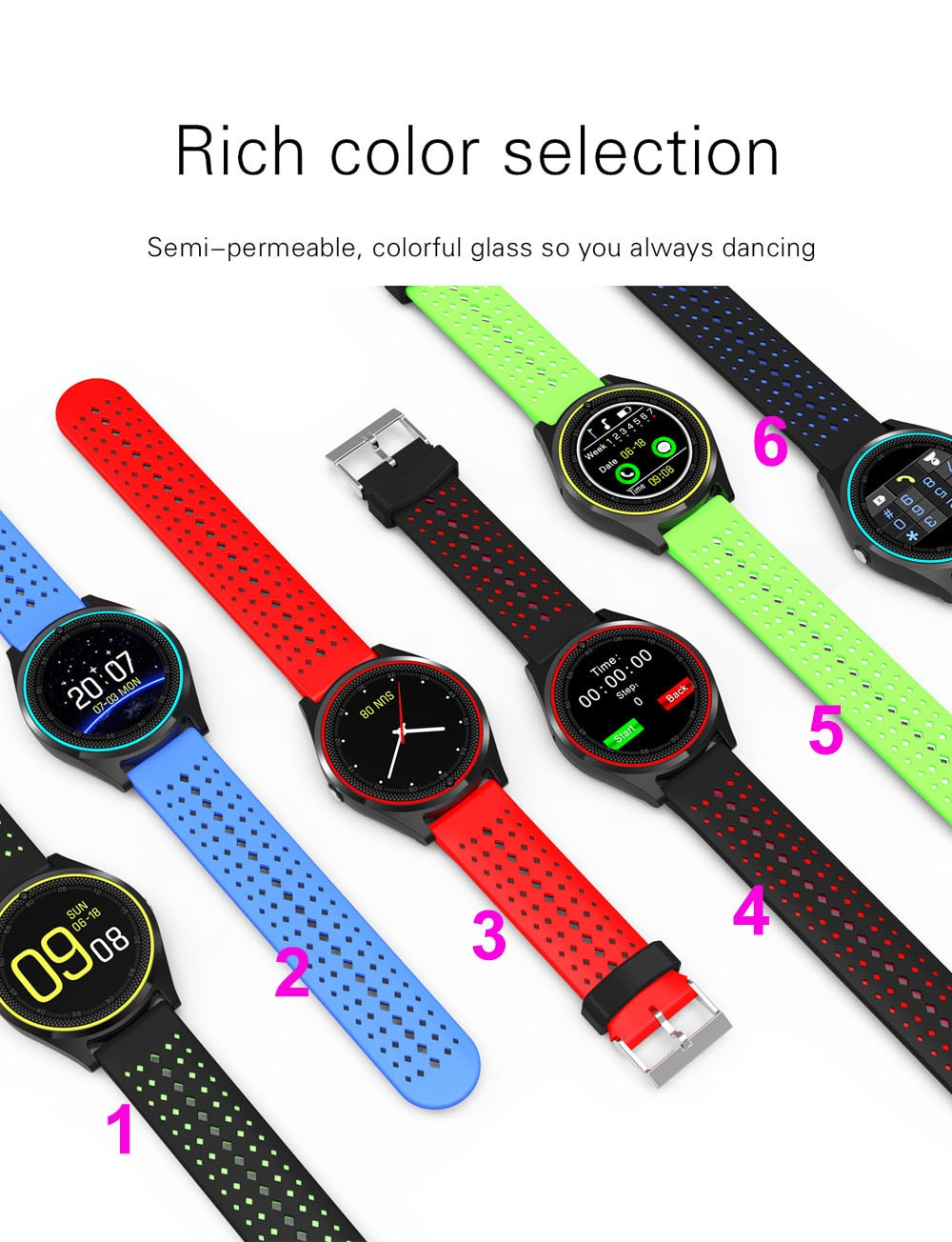 Reloj inteligente Bluetooth 20 Uds V9 micro-SIM 2G con cámara podómetro salud deporte MP3 música reloj inteligente para Android