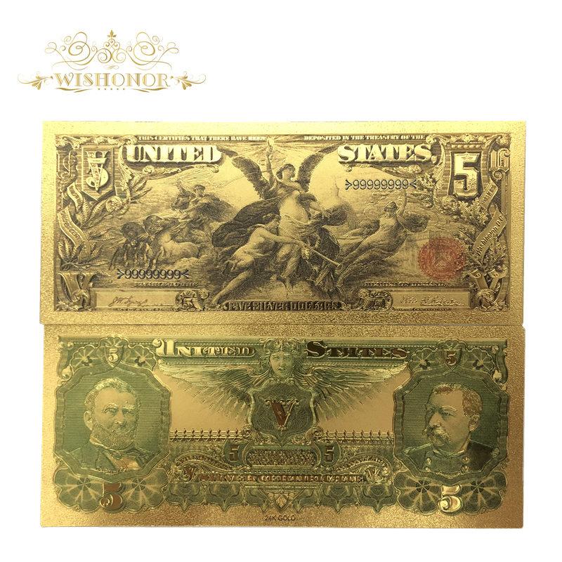 10 teile/los Neue Produkte 1896 Jahr Amerika Gold Banknoten USD 5 Dollar Banknoten in 24 karat Gold Bill Gefälschte Papier Geld Für sammlung