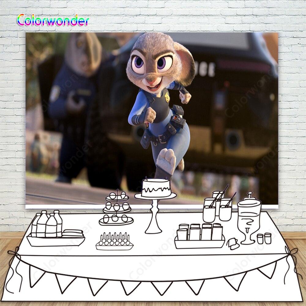 Fondo fotográfico Zootopia conejo policía Feliz cumpleaños fotografía Fondo fiesta de Historia de juguete fondo fotográfico Fondo de estudio