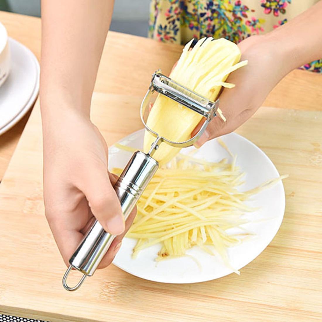 Дешевые практичные кухонные овощные инструменты из нержавеющей стали, терка для овощей, нож для нарезки картофеля, моркови, пилинг яблоко, фруктовые зестры