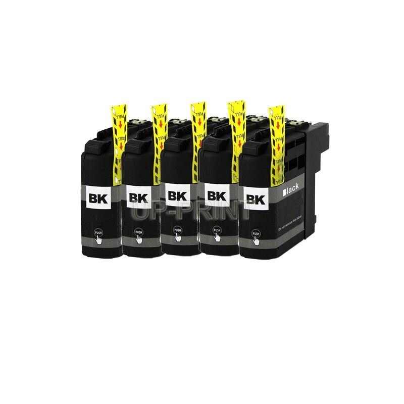 UP 5PCS LC129 LC127 LC125 LC123 LC121 cartuchos de tinta Preta para O Irmão J4710DW/J6520DW/J6920DW/DCP-J132W/J152W/J172W