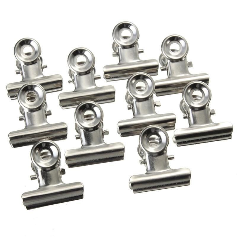 10 Uds 22mm ronda clips de agarre de metal plata Bulldog Clip de acero inoxidable boleto Clip papelería