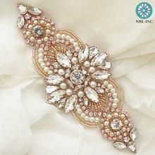 (1 piece )Hand beaded sewing bridal crystal rhinestone applique patch iron on for wedding dresses DIY sash WDD0497
