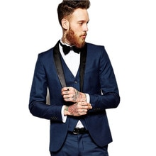Fashionable One Button Navy Blue Groom Tuxedos Shawl Lapel Groomsmen Men Blazers 3 pieces Suits (Jacket+Pants+Vest+Tie) NO:267