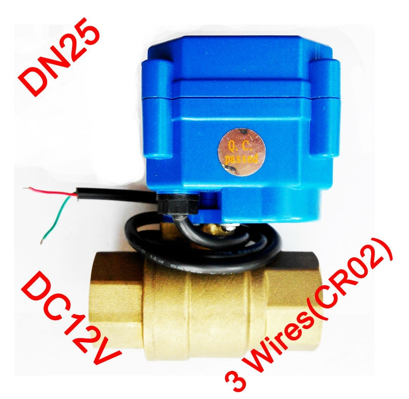 "1 ""válvula de control eléctrica de latón, DC12V válvula motorizada 3 cables (CR02), Mini válvula eléctrica DN25 para control de agua"