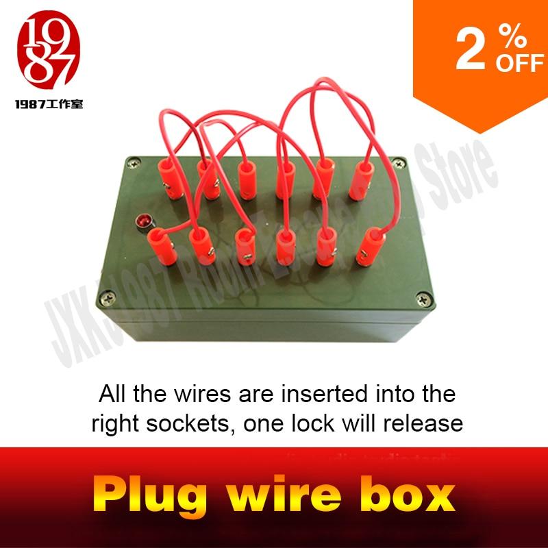 Sala de escape atrezo de juego takagism caja de cables todos los cables se insertan en los enchufes correctos para desbloquear la habitación charmber JXKJ1987