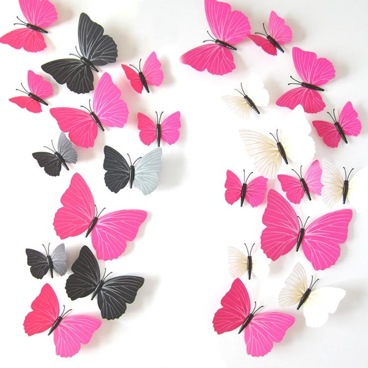 Lote de 12 pegatinas 3D de mariposa para pared de PVC, decoración para el hogar, cartel para cocina, baño, nevera, adhesivo para decoración de calcomanías para pared