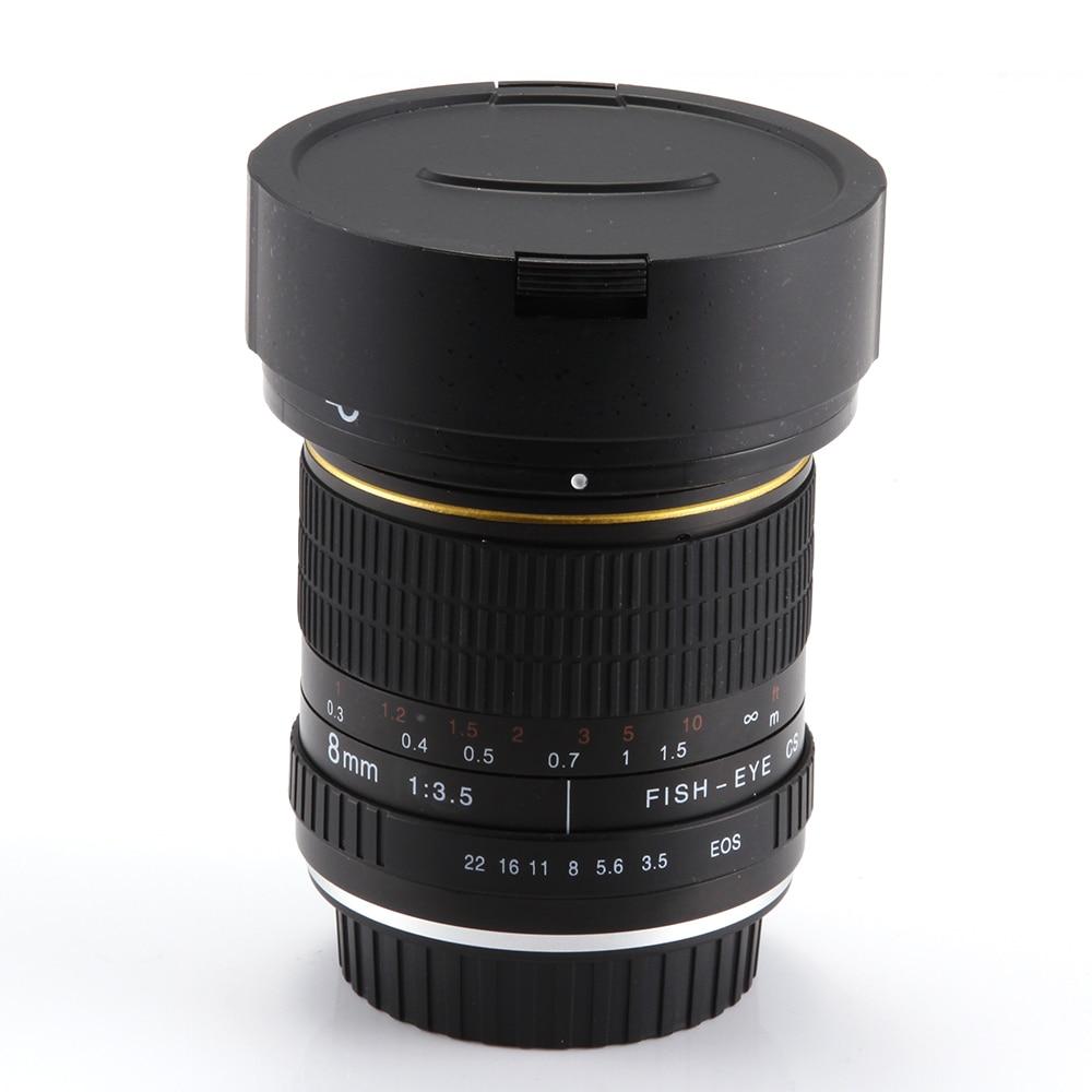 8mm f/3,5 lente de ojo de pez Super gran angular para Canon 5D Mark III II 3 7D 6D 70D 60D