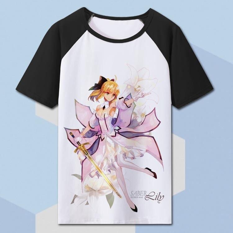 Camisa de T Dos Homens T-shirt 8 Cores Anime Fate Zero Sabre Fate Stay Night Tshirt T-shirt TX028