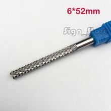 1 stks 6*52mm Maïs Tanden Frees, Frees CNC Frezen Gereedschap PCB, Printplaat Cutter op HDF, Fiber Glas Hout