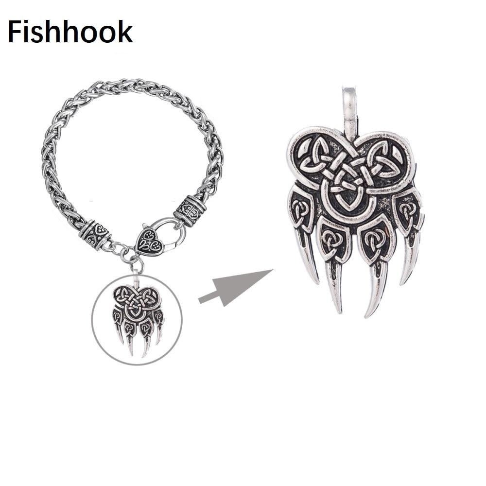 Fishhook Gothnic Warding Veles oso pata talismán amuleto vikingo eslavo encantos nudo de la suerte DIY pulseras de cadena de trigo y brazaletes