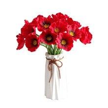 Beautiful Artificial Red Poppy Flowers For Spring Home Wedding Decoration Long Stem Fake Flowers Flores Fleurs Artificielles