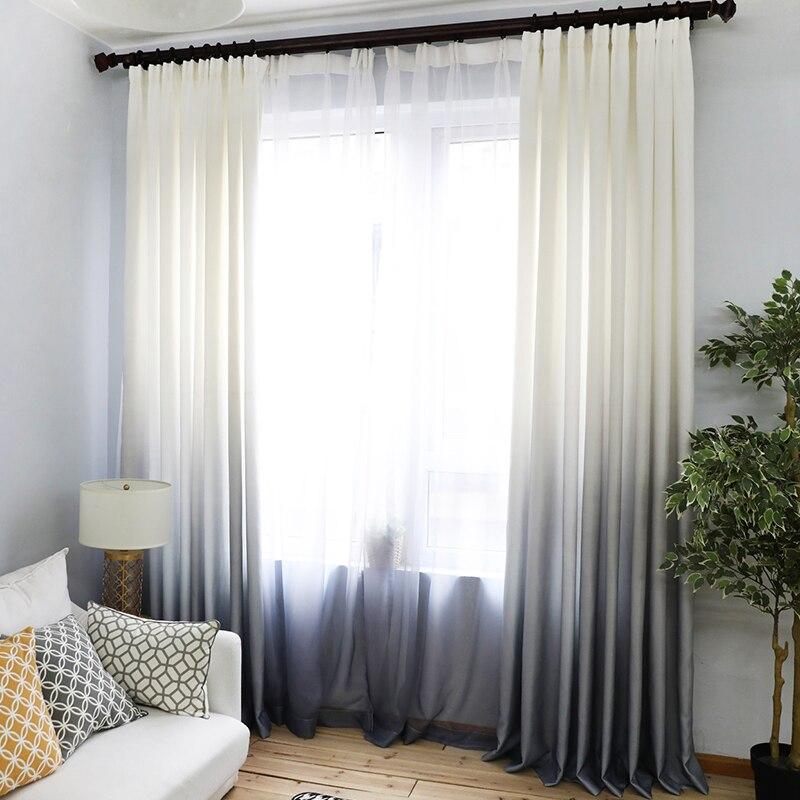 Zasłony Gradient woal z nadrukiem szare okno nowoczesne na zasłony do salonu tiul przezroczyste tkaniny Rideaux Cortinas WP185-30