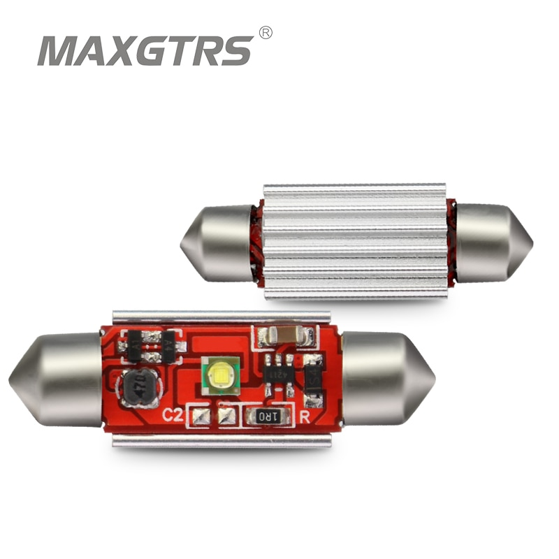 2X auto Festoon Cree bombilla LED con Chip 31mm/36mm/39mm/41mm C5W 12V luz de placa de licencia lámpara Interior de cúpula luces de lectura Super blanco