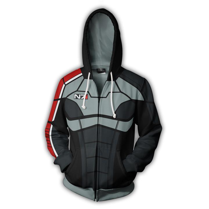 Sudadera con capucha informal de algodón con efecto 3 N7 de Game Of Mass, ropa de abrigo con cremallera para Cosplay