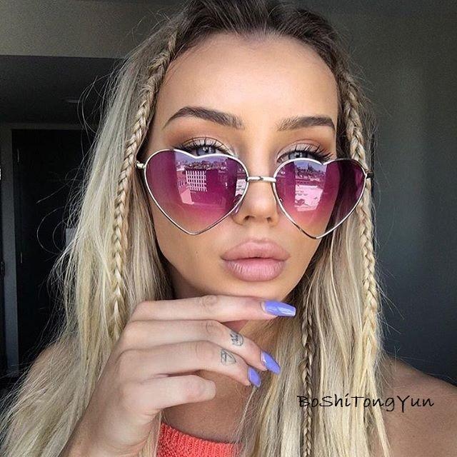Ladies Heart Shaped Sunglasses metal Women Brand Designer Fashion Rimless LOVE Clear Ocean Lenses Su