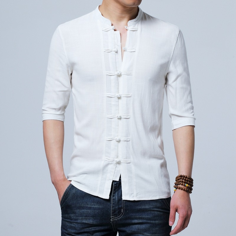 Tradictional Chinese Clothing For Men Half Sleeve Cotton Linen Chinese Style Shirts  Kung Fu Tai Chi Tang Suit Style Tops CN-026 недорого