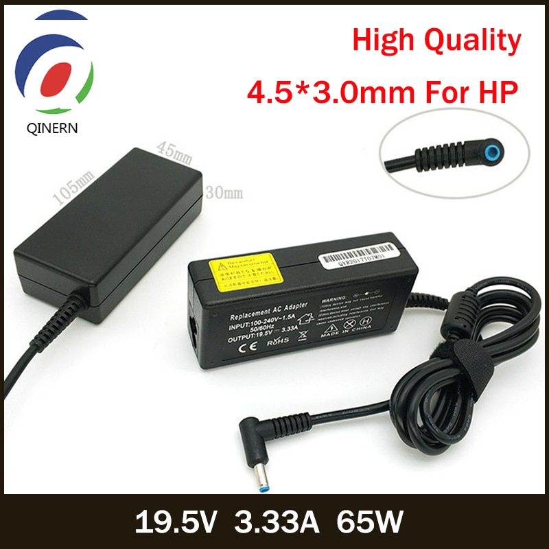 Портативное зарядное устройство QINERN 19,5 V 3.33A 65W 4,5*3,0mm AC для ноутбуков, адаптер питания для hp Envy 17 6 14 Pavilion 15 PPP009C 15-J009WM