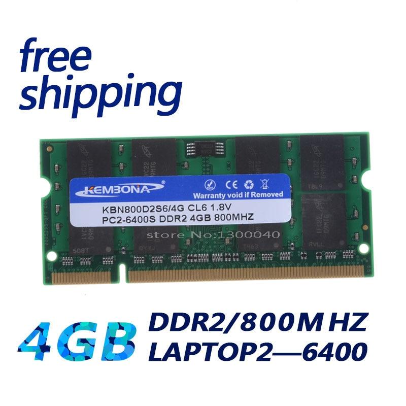 KEMBONA جديد 4GB pc2 6400 ddr2 800 MHz 200pin sodimm الدفتري المحمول RAM SO-DIMM شحن مجاني