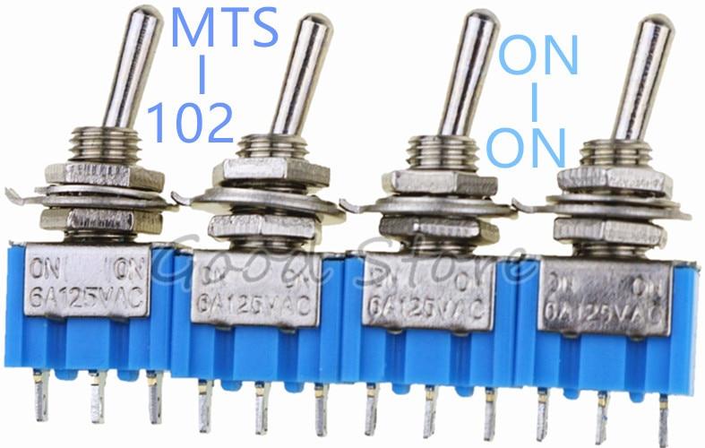 10PCS MTS-102 Sky Blue Mini  SPDT 3Pin 6A 125VAC 2 Position On-on Toggle Switches 3.3*1.3*0.8cm SPDT 6A 125V AC/3A 250V AC DL