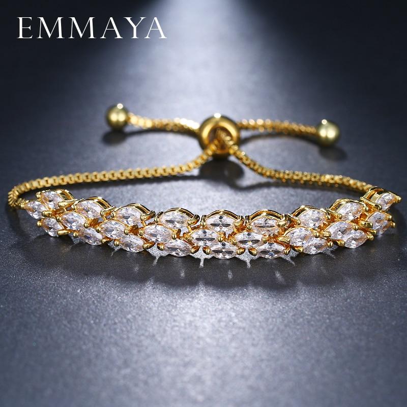 EMMAYA-pulsera con cuentas de Cristal de zirconia cúbica, brazalete ajustable, con cuentas,...