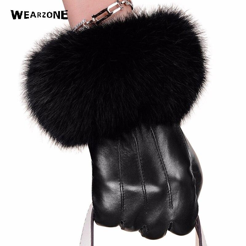 Guantes negros de invierno de piel de oveja, guantes de cuero para mujer, guantes de piel de conejo, guantes de piel de oveja, guantes de conducción femeninos cálidos negros