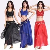women belly dacing clothing 5 flowers topgold coins skirt 2pcs belly dance suit for lady belly dance clothes